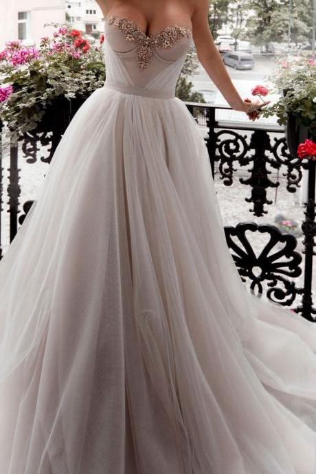 Strapless Sweetheart Beaded Tulle A-line Wedding Dress