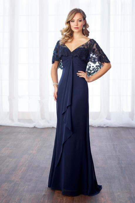 V-Neck A-Line Evening Dress,Sweetheart Prom Dress With Lace Appliques