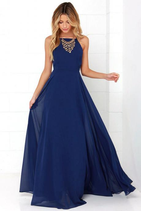 Simple Blue Spaghetti Prom Dress,Sleeveless Backless Evening Dress