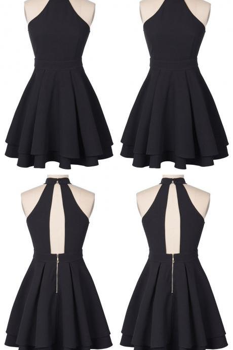 O-Neck A-Line Homecoming Dress,Sleeveless Chiffon Short Party Dress