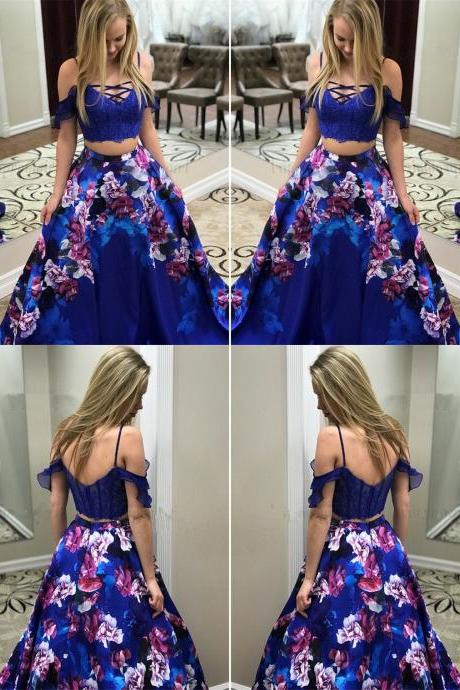 Two Piece Spaghetti Straps Royal Blue Printed Prom Dress with Lace