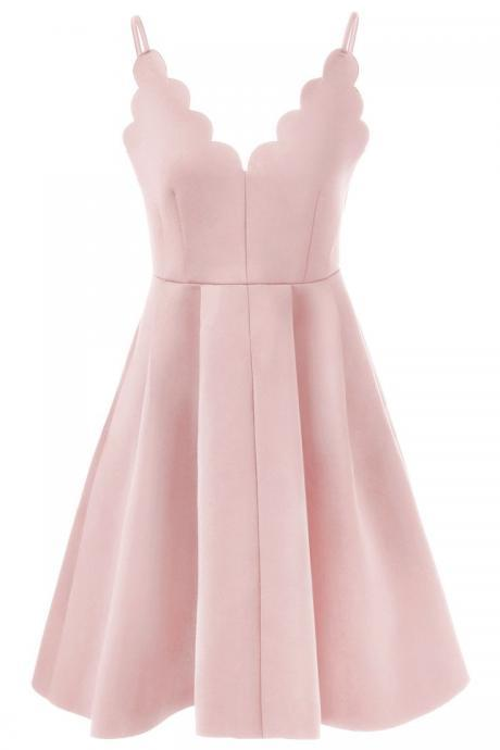 SIMPLE PINK SATIN SPAGHETTI STRAPS CHEAP SHORT HOMECOMING DRESSES PROM DRESS