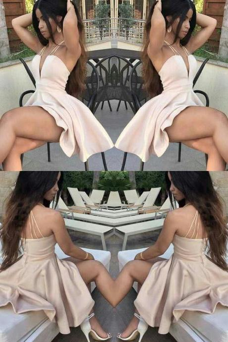 A-Line Deep V-Neck Sleeveless Ivory Short Homecoming Cocktail Dress