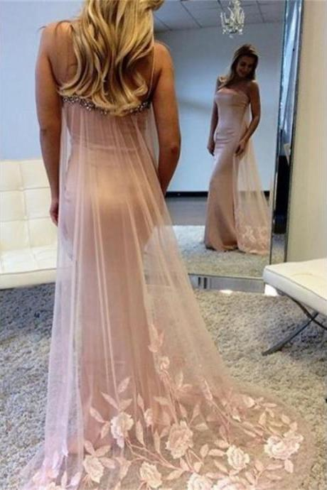 Pink Prom Dresses, Long Prom Dresses, Mermaid Sweep Train Long Pink Spaghetti Straps Beauty Prom Dresses
