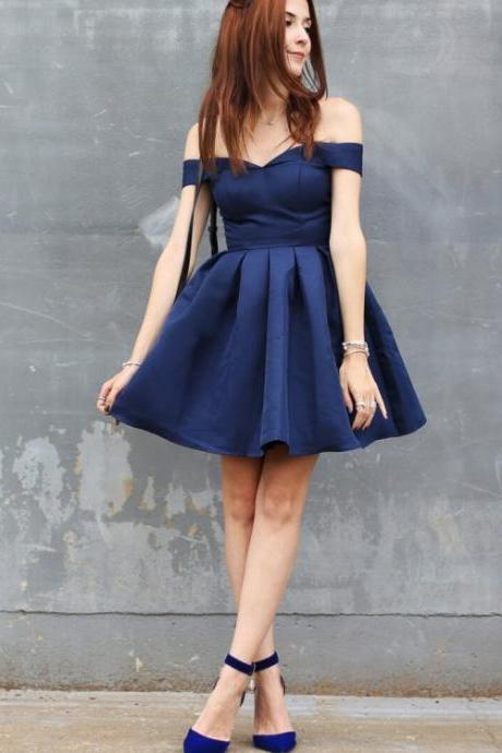 Off-the-Shoulder Homecoming Dresses, Navy Short Homecoming Dresses, Sexy Homecoming Dress Off-the-shoulder Dark Navy Short Prom Dress Party Dress