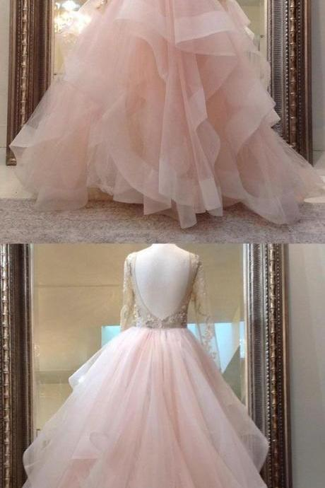 Unique champagne pink tulle lace long prom dress, pink evening dress