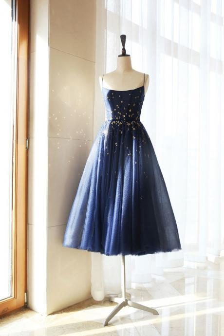 Dark blue tulle tea short prom dress, blue homecoming dress