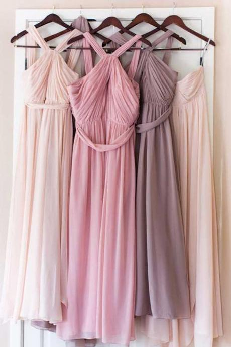 Backless Chiffon Bridesmaid Dress,Floor Length Evening Dress