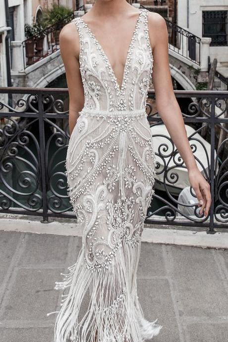 Spaghetti Straps Deep V-Neck Wedding Dress,Sexy Sleeveless Bridal Dress
