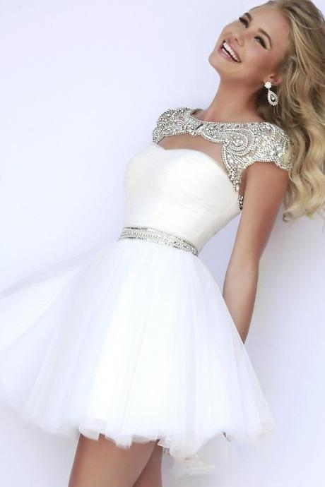 Beading Cap Sleeves Homecoming Dress,Cute Prom Dress,Short Prom Dresses