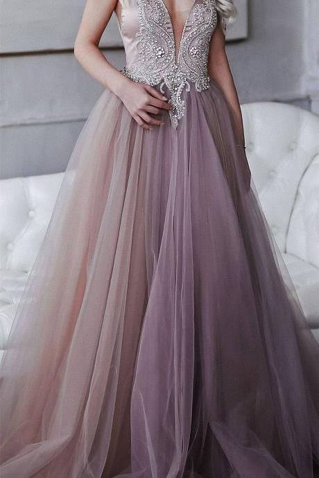 Wedding dress of extraordinary smoky purple, hand-embroidered crystals, lush tulle skirt, an open back / Prom Dress
