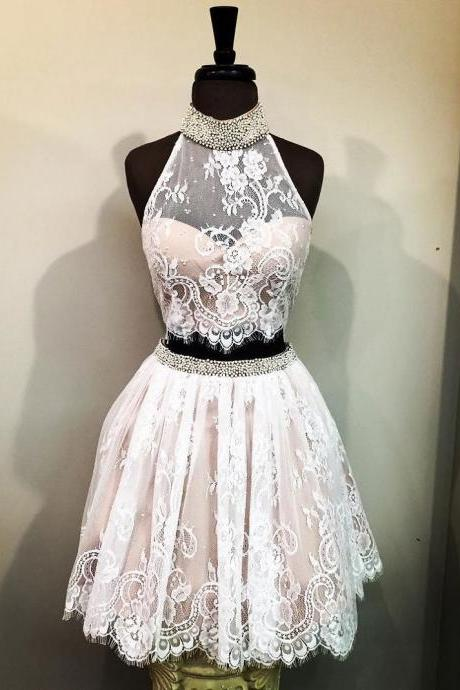 Halter Lace Two Pieces Homecoming Dress,Sleeveless Short Party Dress
