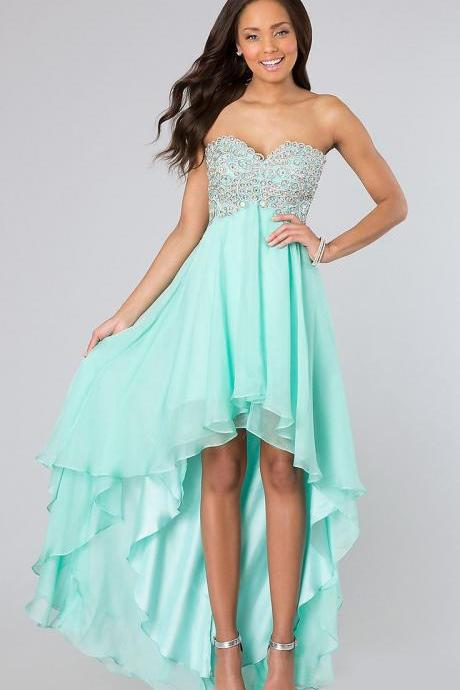 High Low Mint Green Chiffon Homecoming Dress Sweetheart Strapless