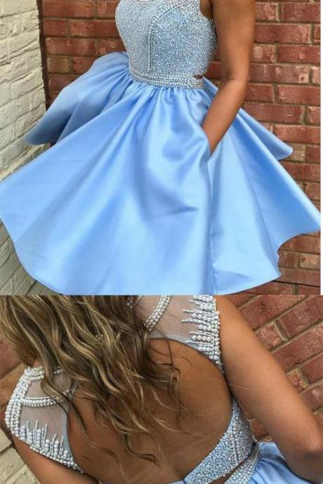Cute Two Piece Light Blue Satin Homecoming Dress