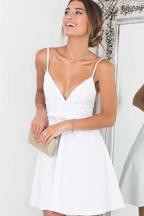 White Short Homecoming Dress,Simple homecoming dresses,cocktail dresses
