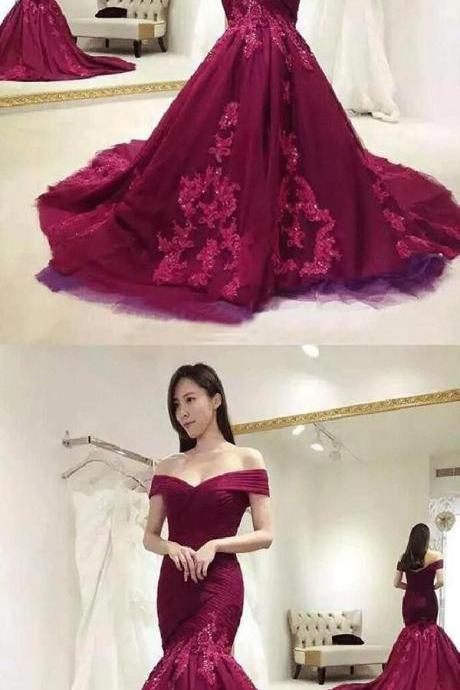 Sexy Mermaid Burgundy Lace Off Shoulder Appliqued Long Prom Dresses