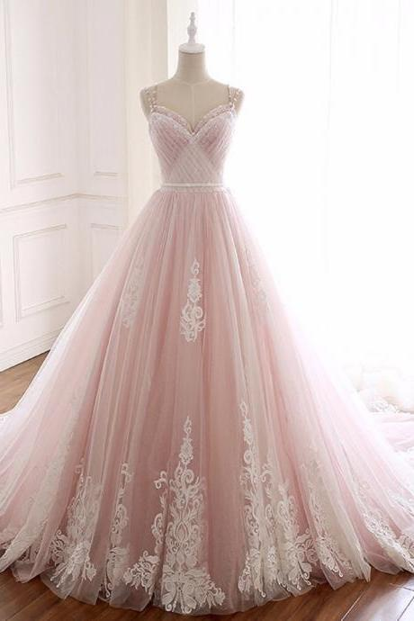 Pink Tulle Spaghetti Straps Backless Weddign Dress With Beading