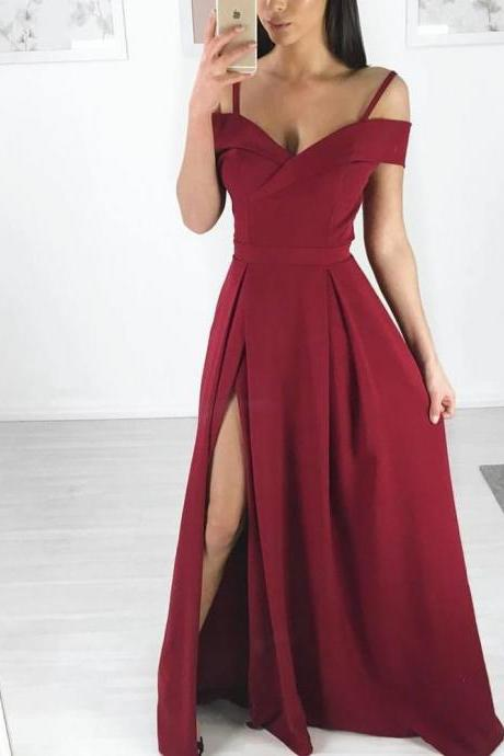 Burgundy Side Slit Simple Cheap Long Party Prom Dresses