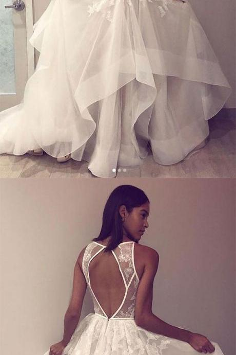 White tulle lace long prom dress, white tulle backless evening dress