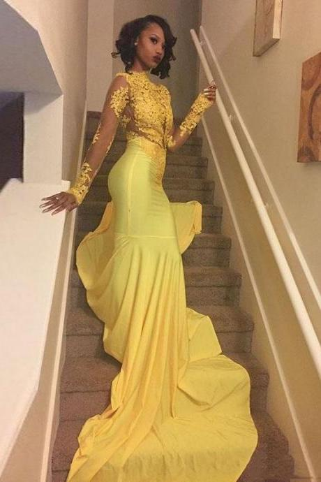 Illusion Yellow Lace and Satin Long Sleeve High Neck Mermaid Prom Dress