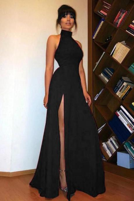 O-Neck Sleeveless A-Line Floor Length Prom Dresses with Front Slit