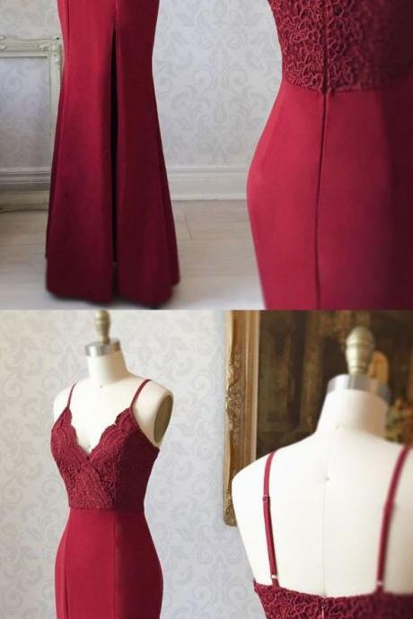 Burgundy Mermaid Long Prom Dress ,Fashion Lace Spaghetti Straps Party