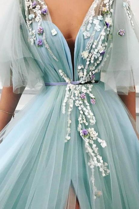2019 Newest Deep V-Neck Short Sleeves A-Lines Side Slit Tulle Prom Dresses With Appliques, Prom Dresses