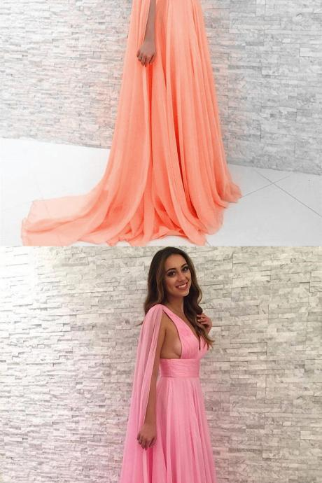 V-Neck Chiffon Sexy Long Prom Party Dresses,Evening Dresses