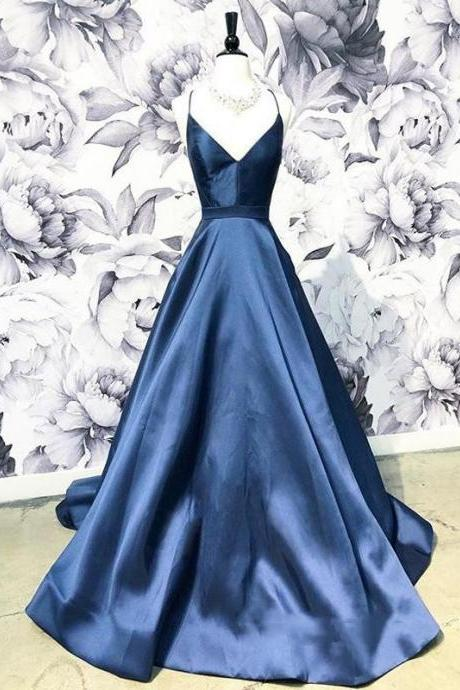 Simple Satin Lace Up Back Long Prom Dresses