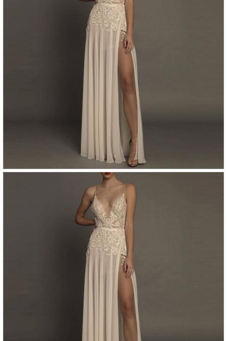 Sexy prom dress, v neck prom dress, side split prom dress, formal prom dress, evening dress, cheap prom dress