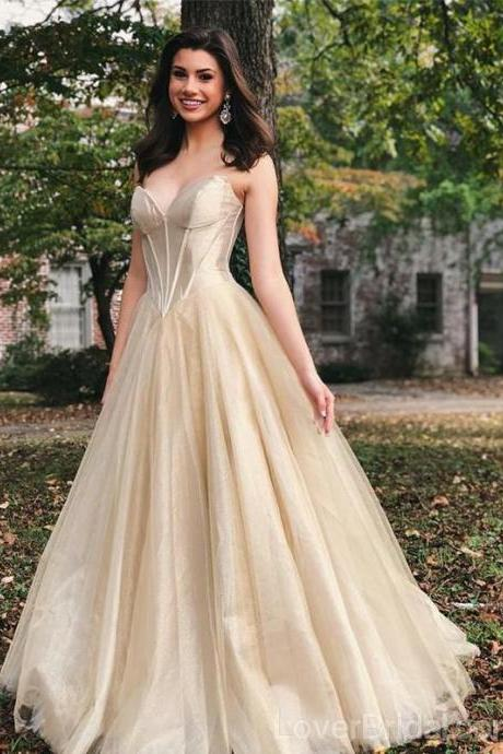 Sweetheart A-line Tulle Long Evening Prom Dresses, Cheap Custom Sweet 16 Dresses