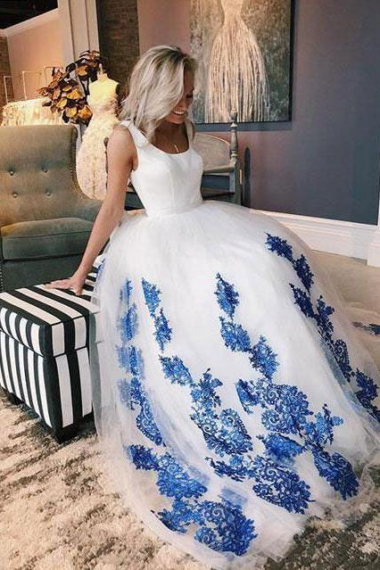 Popular On Sale Formal A Line Elegant Blue Applique Long Prom Dresses
