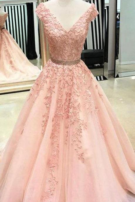 V Neck Cap Sleeves Peach Lace A-line Long Evening Prom Dresses, Cheap Sweet 16 Dresses