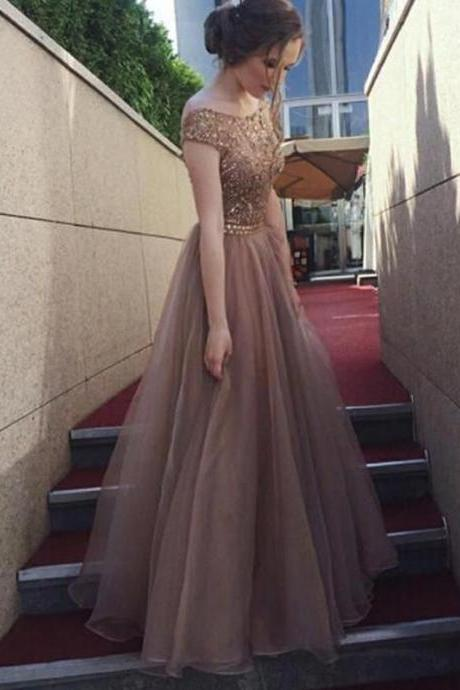 Backless Off Shoulder Rhinestone Long Evening Prom Dresses