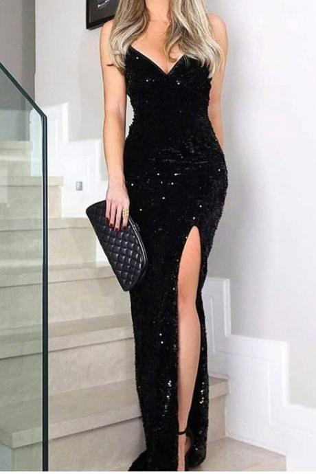Sleeveless Thigh Slit Sequin Evening Dress,Spaghetti Straps Evening Dress