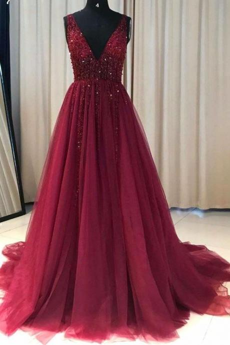 Deep V-neck Sexy A-line Long Prom Dress With Beading Custom-made School Dance Dress Fashion Graduation Party Dress