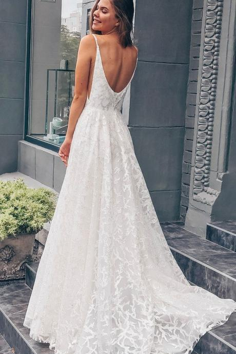 Princess White Long Wedding Dress with Train,White long wedding dresses with train, Open back wedding dresses