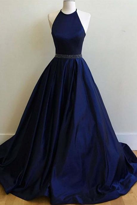Sexy Prom Dresses,Navy Blue Prom Dress,Halter Long Prom Dresses,Party Gown,Graduation Dresses,Formal Dress For Teens