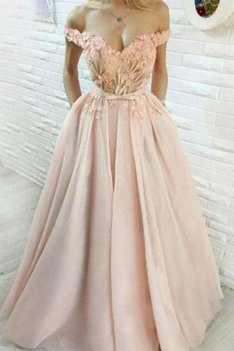 Blush Pink Tulle Applique Off Shoulder Prom Dresses