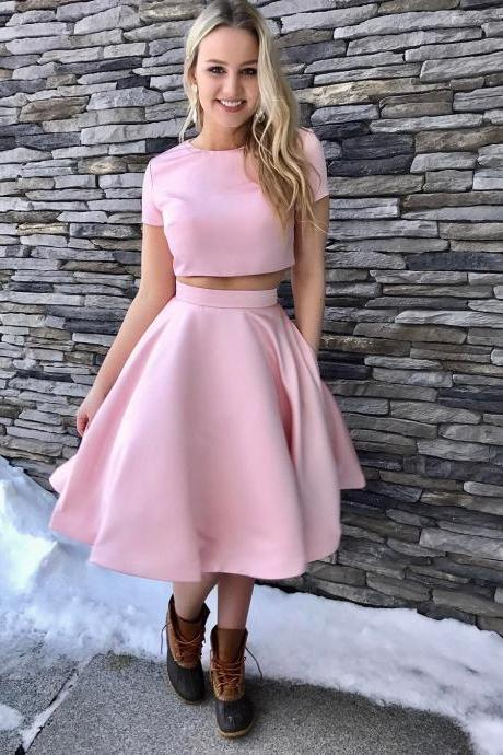 Two Piece Short Pink Knee Length Homecoming Dress with Pockets