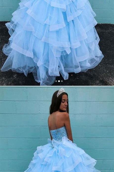 Blue sweetheart neck tulle beads long prom dress, blue evening dress