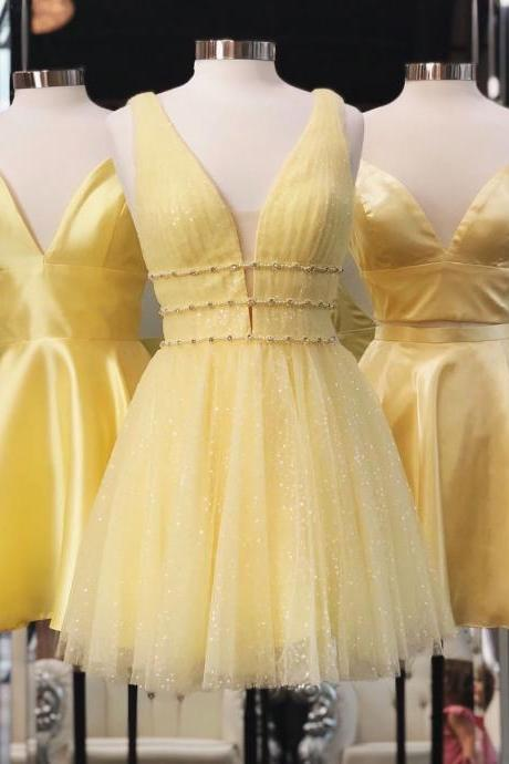 Princess A-line Short Yellow Homecoming Dress,Yellow short dresses