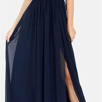 Navy Blue Off The Shoulder Tulle Prom Dresses,V-Neck Sweetheart Evening Dresses