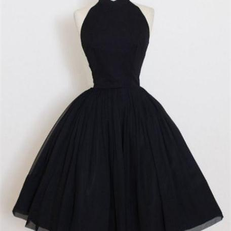 Sale Nice Short Ball Gown Prom Dresses, Black Sleeveless With Pleated Mini Homecoming Dresses
