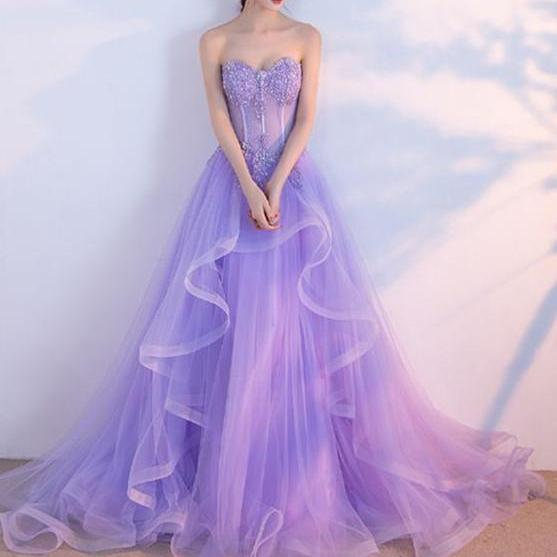 Elegant Prom Dress,Long Prom Dresses,Sweetheart Prom Dresses,Lilac Evening Dress, Tulle Prom Gowns,Formal Women Dress