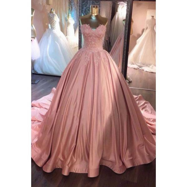 Custom Made Easy Long Ball Gown Prom Dresses, Pink Sleeveless With Lace Cathedral Train Prom Dresses