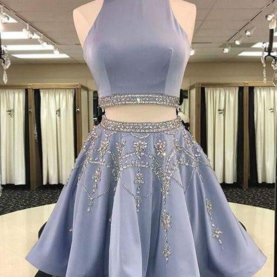 Two Piece Homecoming Dress Rhinestone Scoop Sexy Chic Short Prom Dress Party Dress