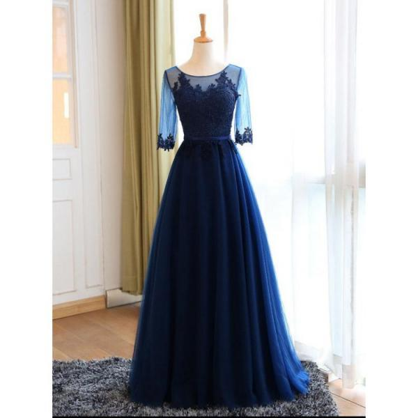 Cheap Sleeves Navy Evening Prom Dresses Popular Long A-line/Princess Applique Lace Up Dresses