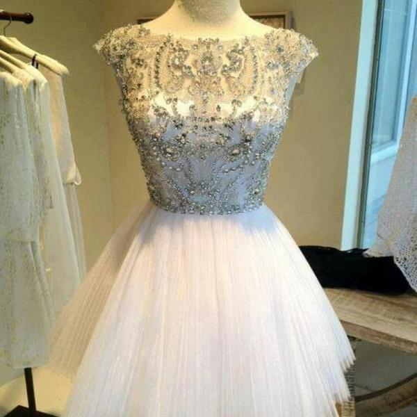 White Homecoming dresses, Short prom dresses, Beaded prom dresses