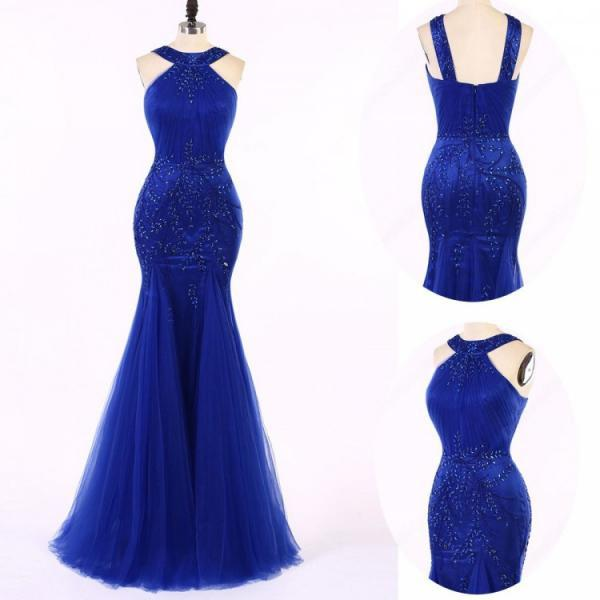 Long Mermaid/Trumpet Prom Dresses, Royal Blue Sleeveless With Beaded/Beading Floor-length Evening Dresses